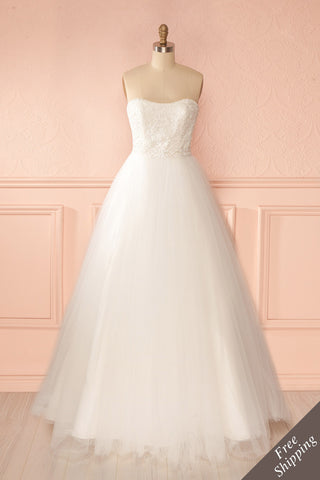 Isabella - White tulle and beaded lace bust bridal gown