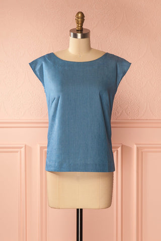 Ishika Blue Buttoned Light Top | Boutique 1861