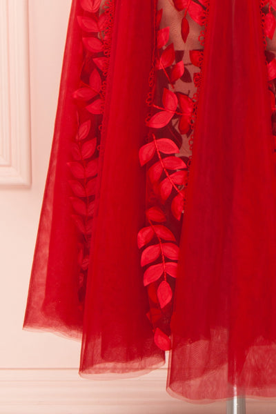 Ishikari Red Tulle & Lace Midi Mermaid Dress | Boudoir 1861 bottom close-up