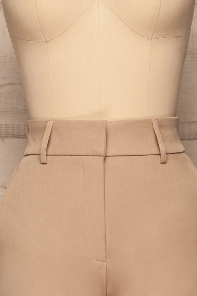 Issie Ginger Sand Beige Straight Leg Pants | La petite garçonne front close-up