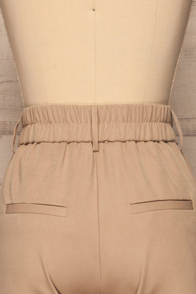 Issie Ginger Sand Beige Straight Leg Pants | La petite garçonne back close-up
