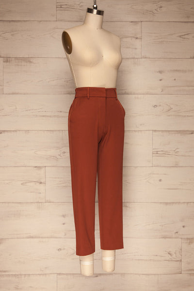 Issie Paprika Rust Orange Straight Leg Pants | La petite garçonne side view