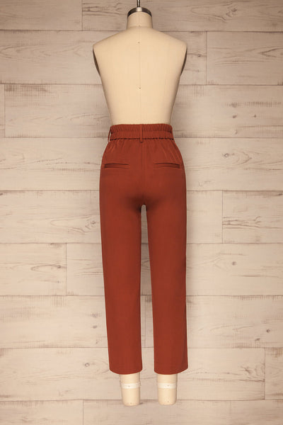 Issie Paprika Rust Orange Straight Leg Pants | La petite garçonne back view
