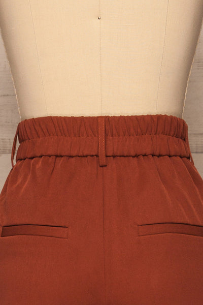 Issie Paprika Rust Orange Straight Leg Pants | La petite garçonne back close-up