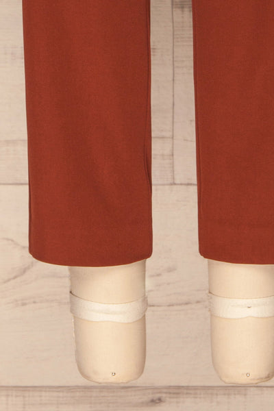 Issie Paprika Rust Orange Straight Leg Pants | La petite garçonne bottom close-up