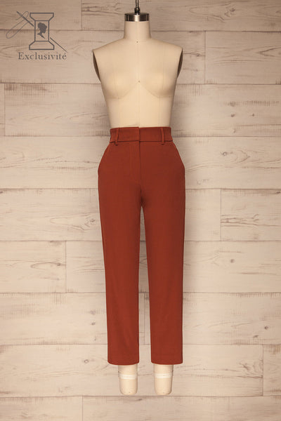 Issie Paprika Rust Orange Straight Leg Pants | La petite garçonne front view