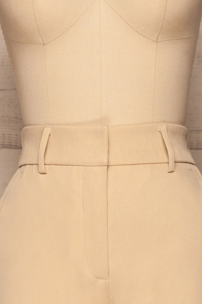 Issie Sesame Light Beige Straight Leg Pants | La petite garçonne front close-up