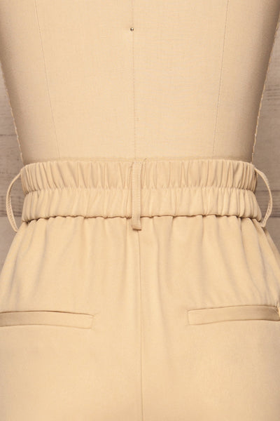 Issie Sesame Light Beige Straight Leg Pants | La petite garçonne back close-up