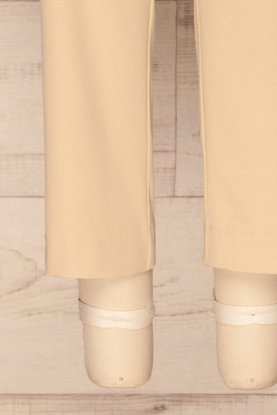 Issie Sesame Light Beige Straight Leg Pants | La petite garçonne bottom close-up