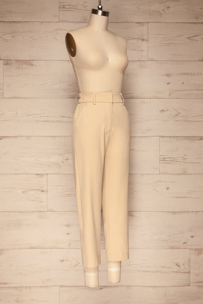 Issie Sesame Light Beige Straight Leg Pants | La petite garçonne side view