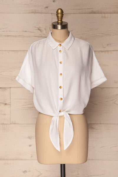 Istiaia White Tied Waist Crop Shirt | Boutique 1861 1