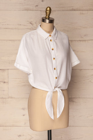 Istiaia White Tied Waist Crop Shirt | Boutique 1861 3