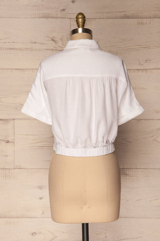 Istiaia White Tied Waist Crop Shirt | Boutique 1861 5