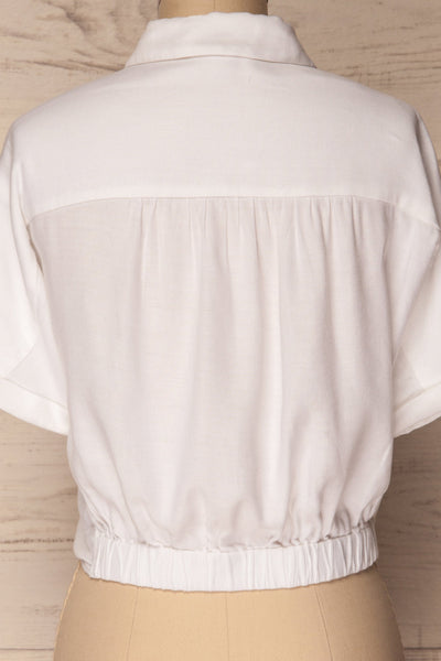 Istiaia White Tied Waist Crop Shirt | Boutique 1861 6
