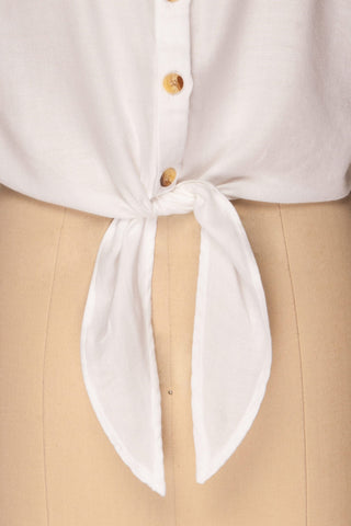 Istiaia White Tied Waist Crop Shirt | Boutique 1861 7