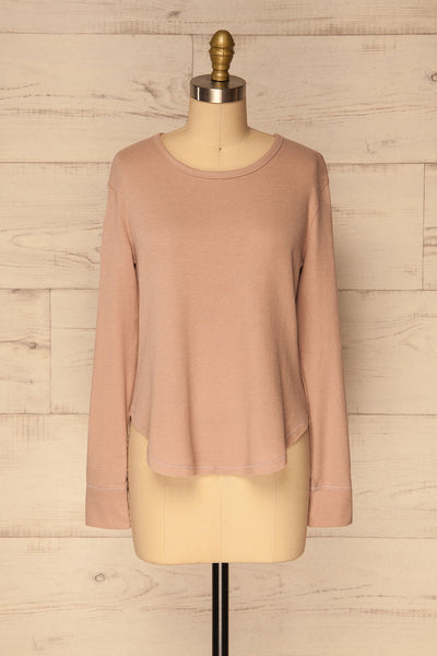 Ivanic Pink Textured Round Hem Long Sleeves Top | La Petite Garçonne 1
