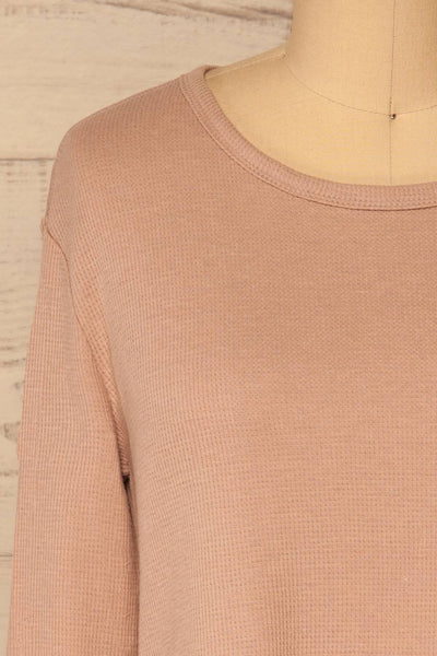 Ivanic Pink Textured Round Hem Long Sleeves Top | La Petite Garçonne 3