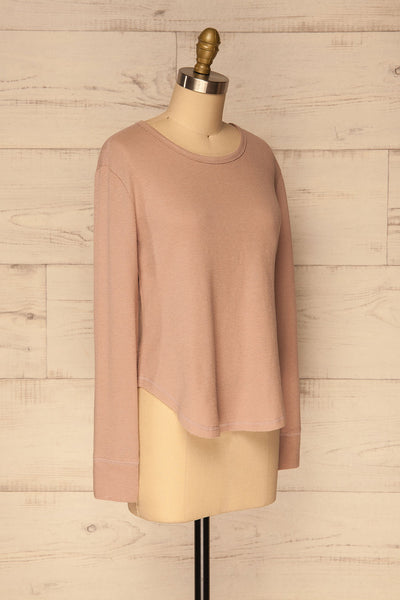 Ivanic Pink Textured Round Hem Long Sleeves Top | La Petite Garçonne 4