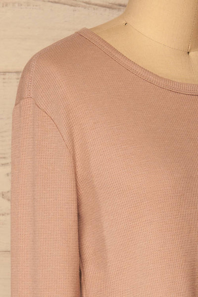 Ivanic Pink Textured Round Hem Long Sleeves Top | La Petite Garçonne 5