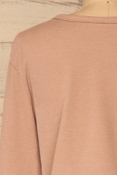 Ivanic Pink Textured Round Hem Long Sleeves Top | La Petite Garçonne 7