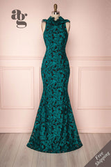 Ivy Emerald Green Embroidered Ruffled Mermaid Dress | Boutique 1861