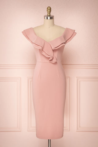 Izano Rose Pink Fitted Midi Cocktail Dress | Boutique 1861