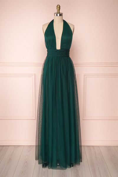 Jablunkov Basil Green Maxi Dress w/ Plunging Neckline | Boutique 1861