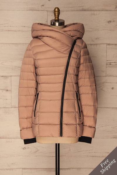 Jacinda Dusty Pink Quilted Coat with Hood | La Petite Garçonne Chpt. 2
