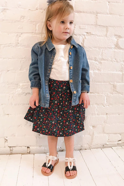 Xonville Mini Blue Kids Denim Jacket | La Petite Garçonne model look