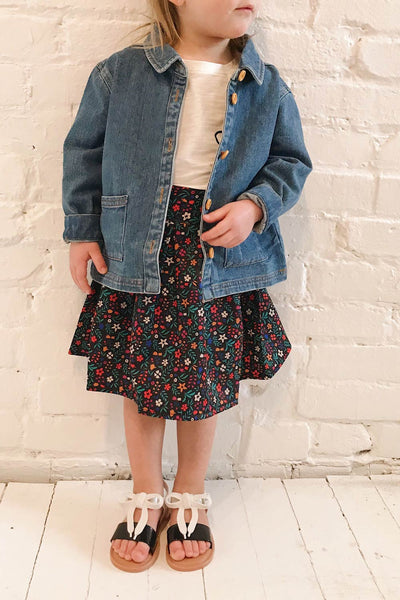Xonville Mini Blue Kids Denim Jacket | La Petite Garçonne on model
