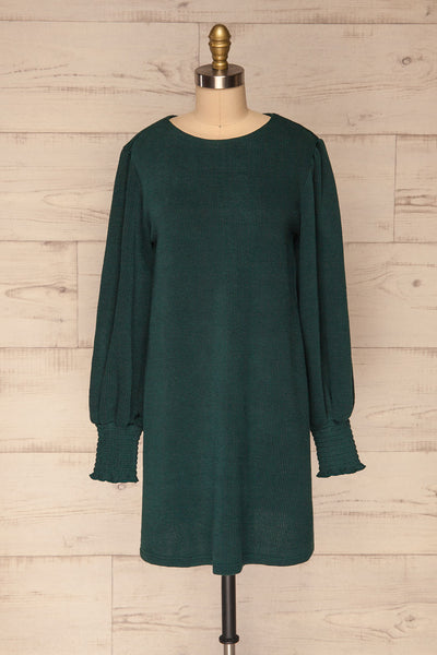 Jaen Teal Ribbed Long Sleeve Dress | La petite garçonne front view