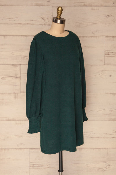 Jaen Teal Ribbed Long Sleeve Dress | La petite garçonne side view