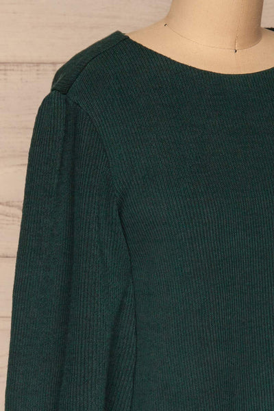 Jaen Teal Ribbed Long Sleeve Dress | La petite garçonne side close-up