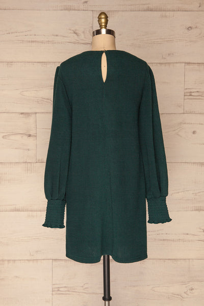 Jaen Teal Ribbed Long Sleeve Dress | La petite garçonne back view