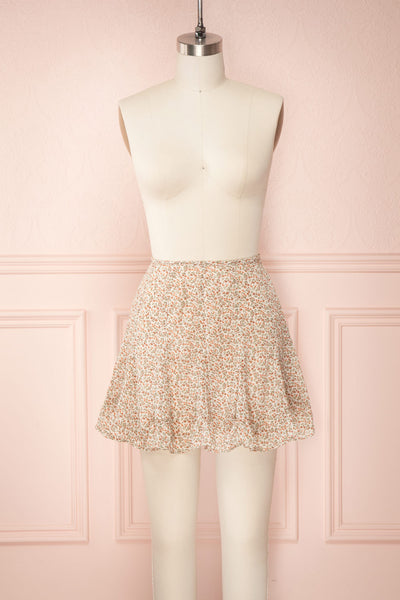 Jaimie Floral Short Skirt w/ Frills | Boutique 1861 front view