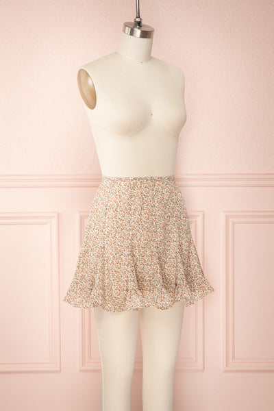 Jaimie Floral Short Skirt w/ Frills | Boutique 1861 side view