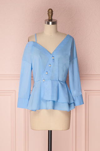 Jaina Light Blue Peplum Blouse with Pearls Buttons | Boutique 1861
