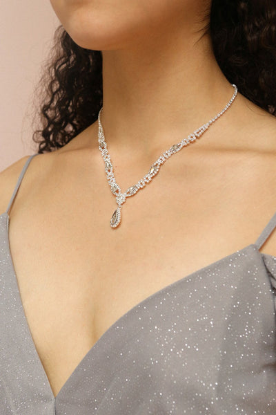 Jakobina Crystal Pendant Necklace | Boutique 1861 on model
