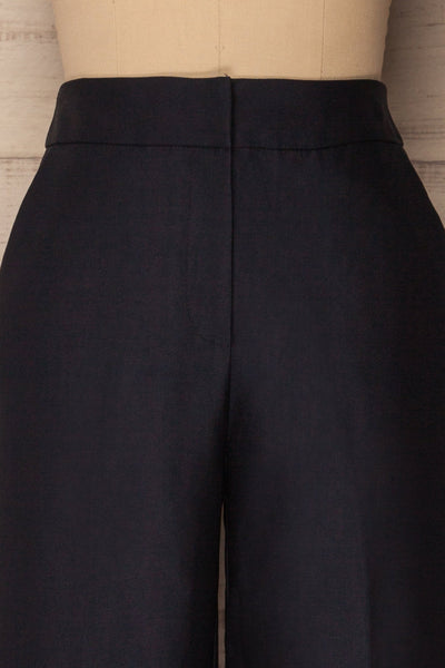 Jarero Navy Blue Cropped Dress Pants waist close-up | La Petite Garçonne Chpt. 2 2