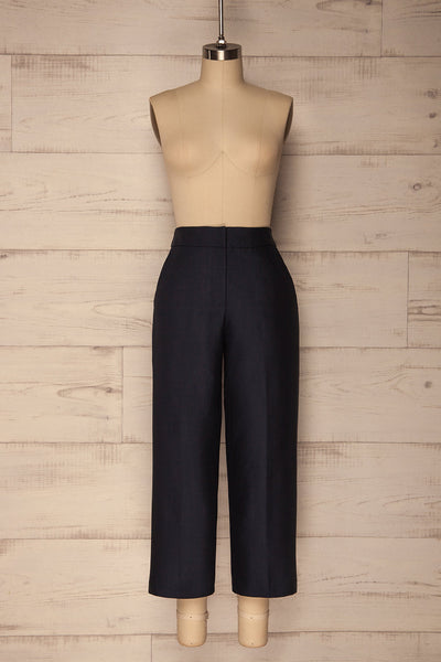 Jarero Navy Blue Cropped Dress Pants front view | La Petite Garçonne Chpt. 2