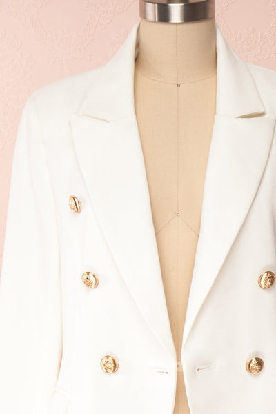 Jatayu White Tailored Jacket w/ Gold Buttons front close up open | Boudoir 1861
