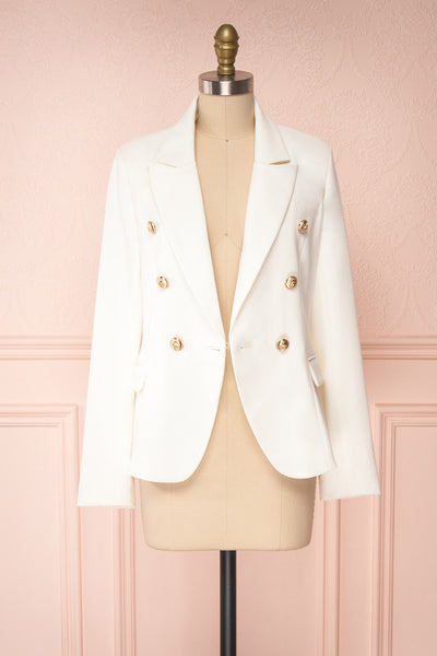Jatayu White Tailored Jacket w/ Gold Buttons front view open | Boudoir 1861