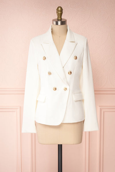 Jatayu White Tailored Jacket w/ Gold Buttons front view | Boudoir 1861