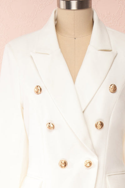 Jatayu White Tailored Jacket w/ Gold Buttons front close up | Boudoir 1861