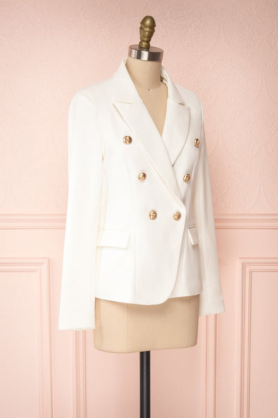 Jatayu White Tailored Jacket w/ Gold Buttons side view | Boudoir 1861