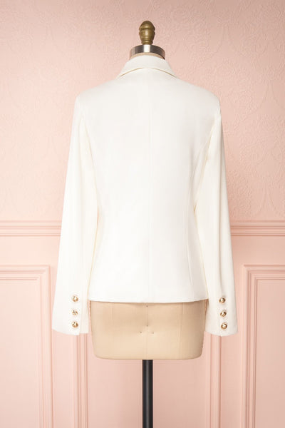 Jatayu White Tailored Jacket w/ Gold Buttons back view | Boudoir 1861