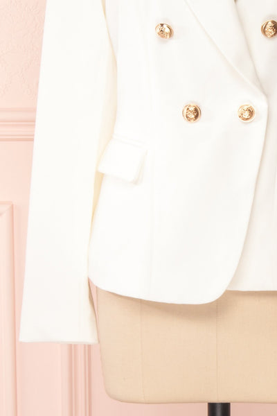 Jatayu White Tailored Jacket w/ Gold Buttons sleeve | Boudoir 1861