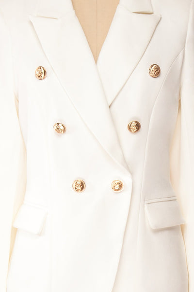 Jatayu White Tailored Jacket w/ Gold Buttons fabric | Boudoir 1861