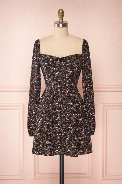 Javouhey Black Floral Long Sleeved A-Line Dress | Boutique 1861 front view