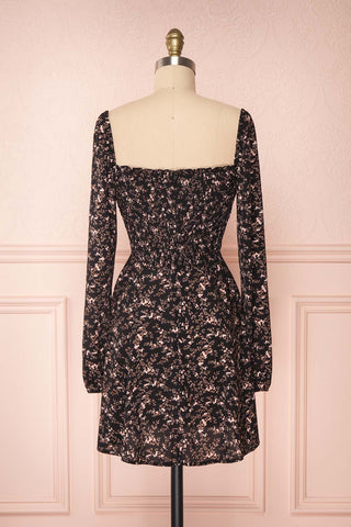 Javouhey Black Floral Long Sleeved A-Line Dress | Boutique 1861 back view
